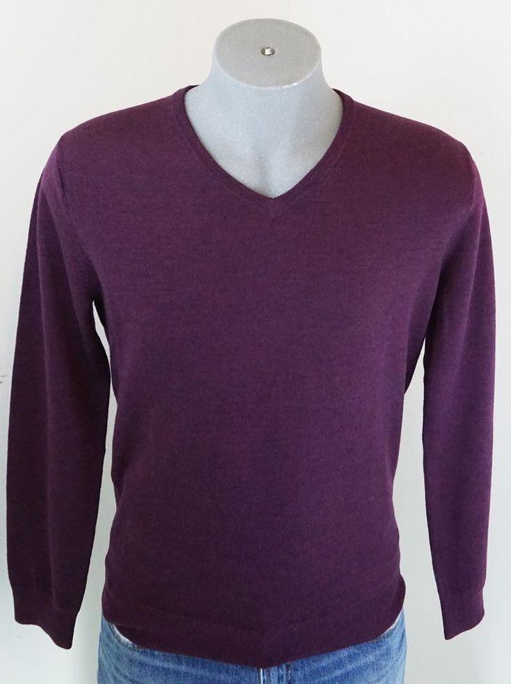 New J.Crew Men's Merino Wool V-Neck Slim Fit Sweater Burgundy M [JCrew] #JCREW #VNeck
