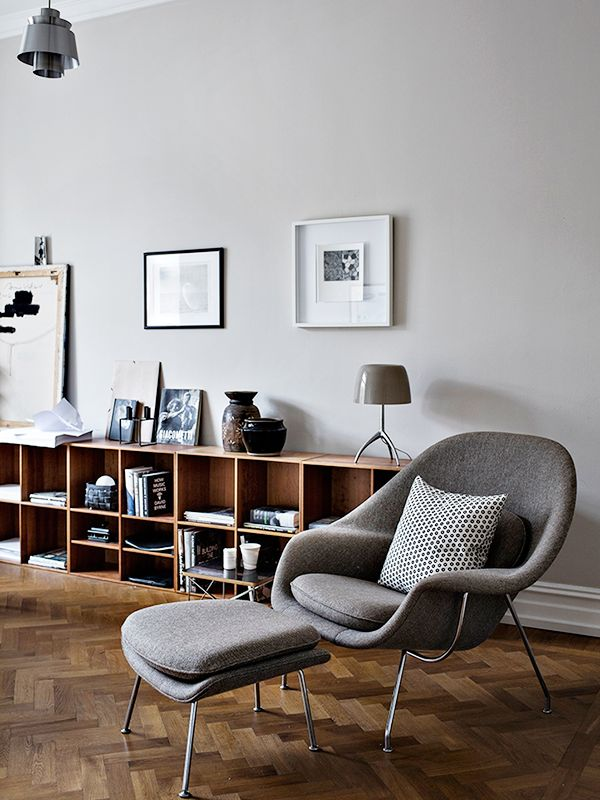 gorgeous grey womb chair an amazing wooden flooring