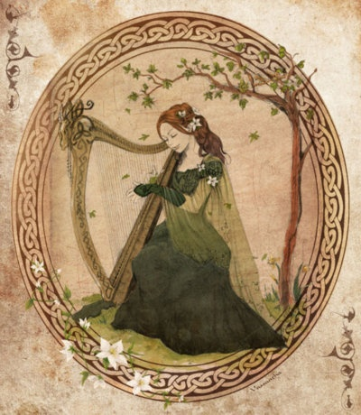 Celtic harper in lovely shades of forest green.