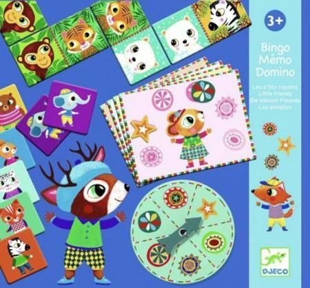 DJECO Набор настольных игр ( 3 игры ) от 3 лет  — 1919р. ------- Набор настольных игр от Djeco – прекрасный игровой набор из 3-х игр, с которыми ребенок будет развивать логику и наблюдательность.   В комплект входят карточки для 3-х настольных игр:   Домино - 28 карточек,   Бинго - 29 карточек,   Мемо - 32 карточки.   В детском домино малыш должен будет подобрать карточку с соответствующим изображением животного. В игре Бинго необходимо заполнить фишками карточку. Игра Мемо…