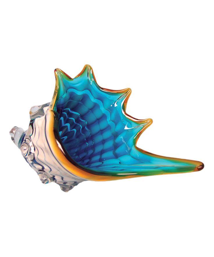 Blue & White Glass Seashell Figurine by Beachcombers Coastal Life #zulily #zulilyfinds