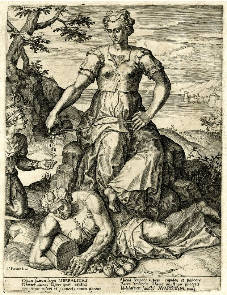 Avarice and Liberality. Allegorical scene with personification of Liberality seated on a rock at centre and taking coins from her purse to give to a young man kneeling at left, her feet resting on personification of Avarice lying on the floor.