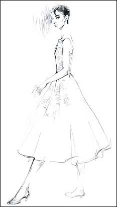 sketch of Audrey Hepburn's oscar dress by Givenchy; worn when she won the Oscar for Roman Holiday.