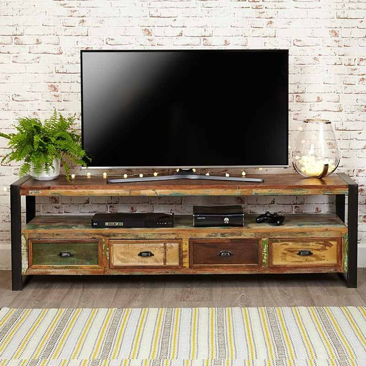 Urban Chic Reclaimed Wood Open Widescreen Television Cabinet -  - TV Unit - Baumhaus - Space & Shape - 1
