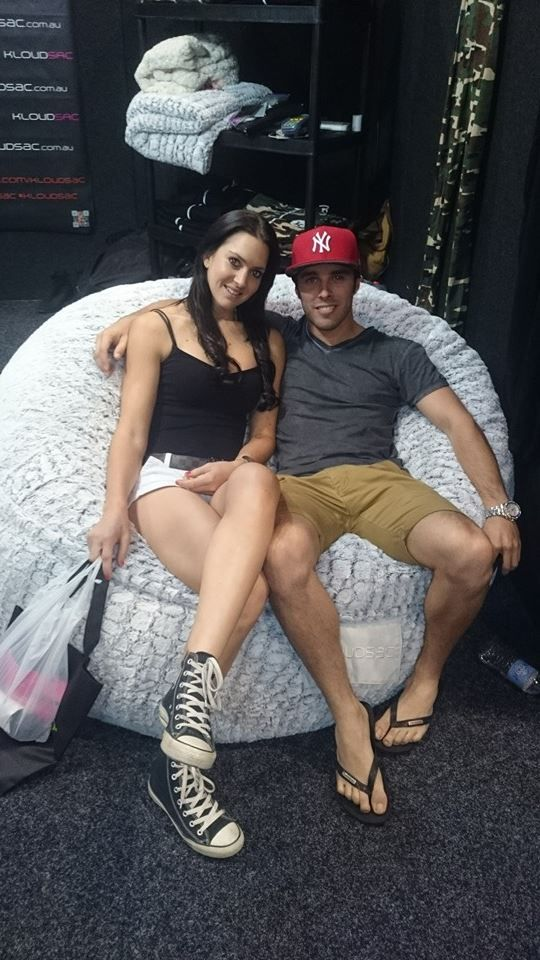 Some couple love on the kloudsac beanbag at sexpo on the gold coast