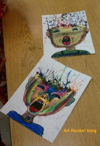 Proportion. figure drawing. expression. oil pastels. watercolor blow painting. 4th grade. Monster Mama:  Art Rocks!