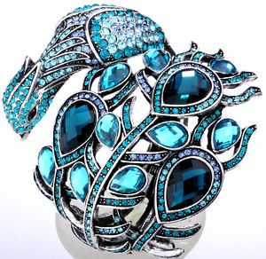 Blue Swarovski crystal peacock bird cuff bracelet: Peacocks, Blue Swarovski, Peacock Bird, Swarovski Crystals, Cuffs, Cuff Bracelets, Birds