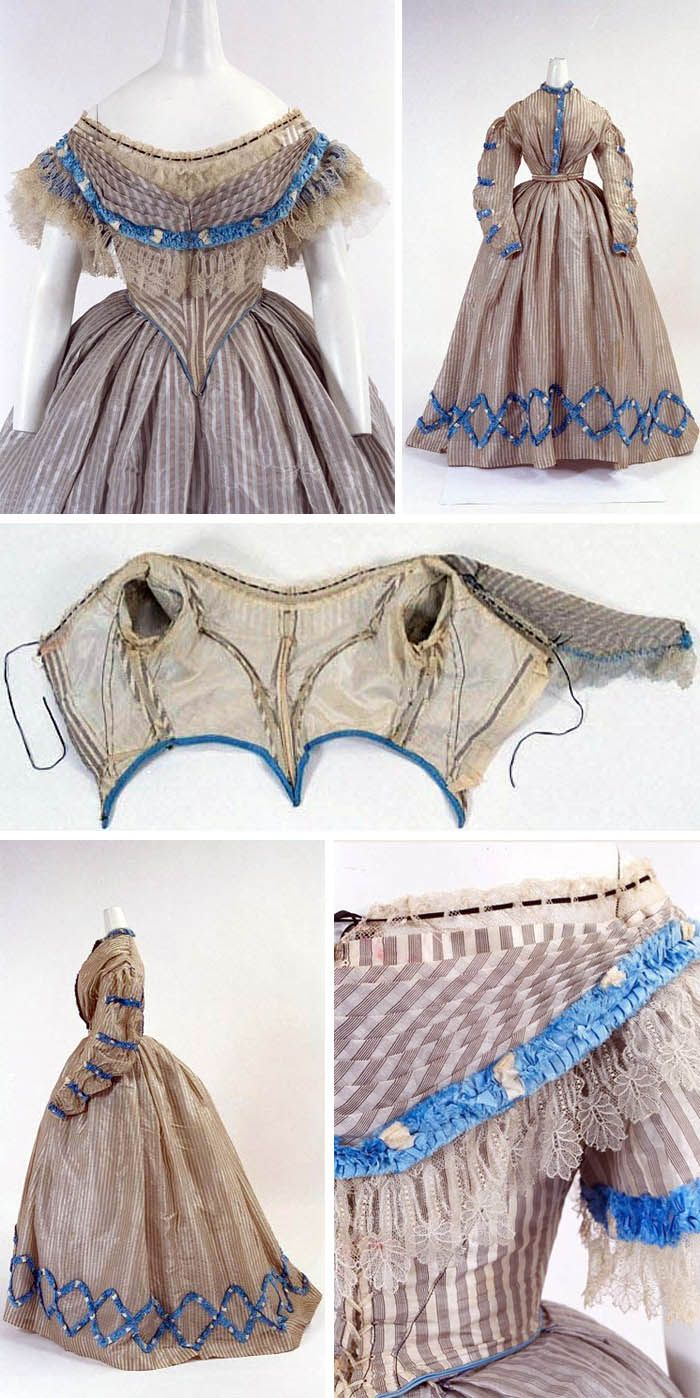 Dress, U.K., 1860. Three pieces (skirt, daytime bodice, evening bodice). Bunka Gakuen Costume Museum