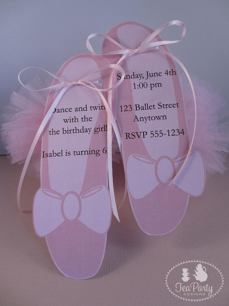 My Little Ballerina...Customized Ballet Slipper Party Invitations. $12.00, via Etsy.