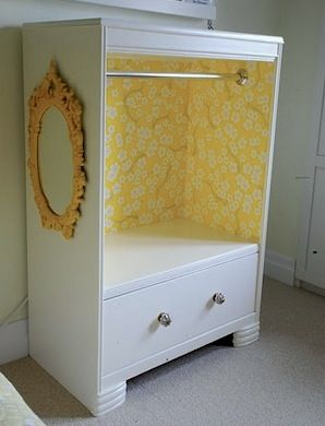 recycle dresser into kids dress up clothes storage- hanging bar, wallpaper inside, and a mirror as well