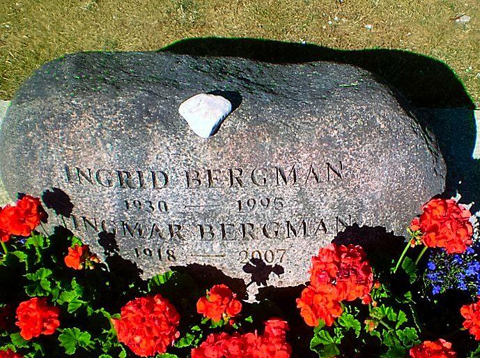 Gravestone of Ingmar Bergman and wife Ingrid von Rosen on Faro, Sweden. Photo Credit: Ola Wiberg.