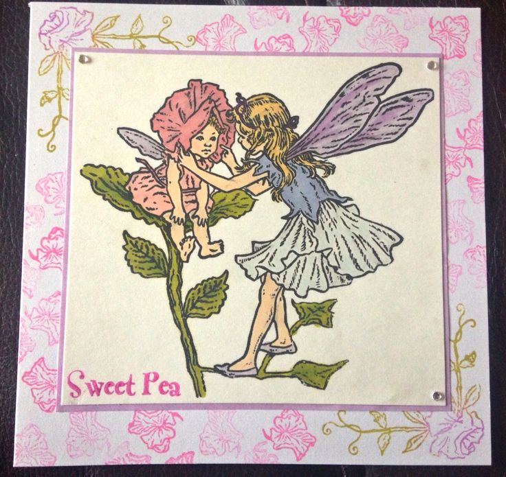 Sweet pea #FlowerFairy card. Coloured with Promarkers.