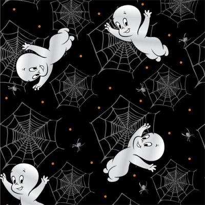 Quilting Treasures Casper - Creepy Cute 23947 J Black Casper & Spiderwebs $9.60/yd PREORDER DUE MARCH/APRIL '15