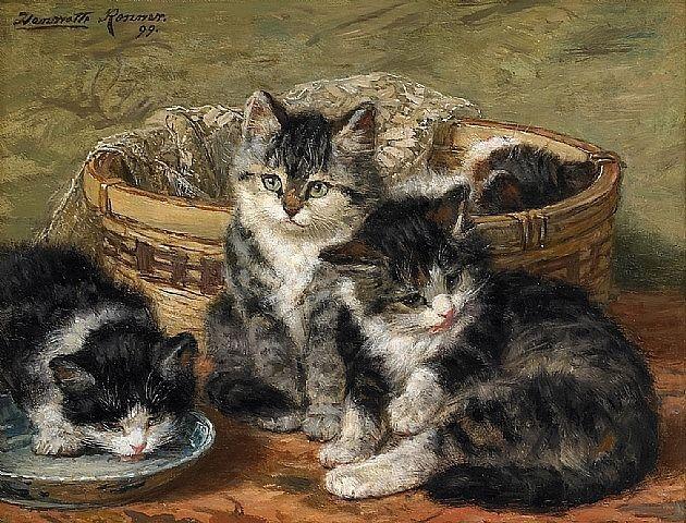 Henriette Ronner-Knip, Kittens 1899: Cats, Cat Art, Art Henriette Ronner Knip, Basket Cats Henriette Ronner, Cat Painting, Catart, Kittens