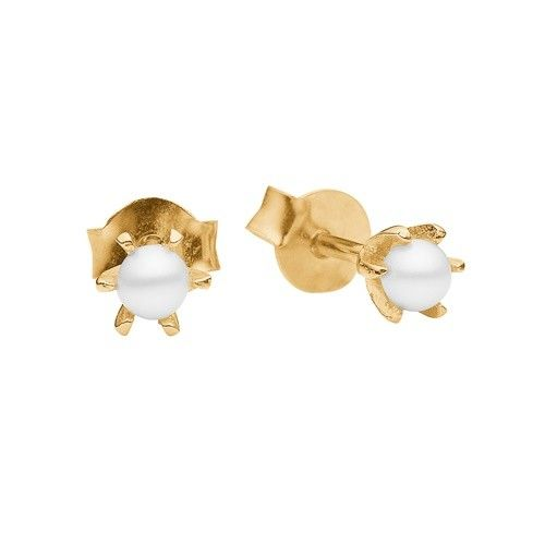 Stud, petit pearl, white, gold plated sterling silver