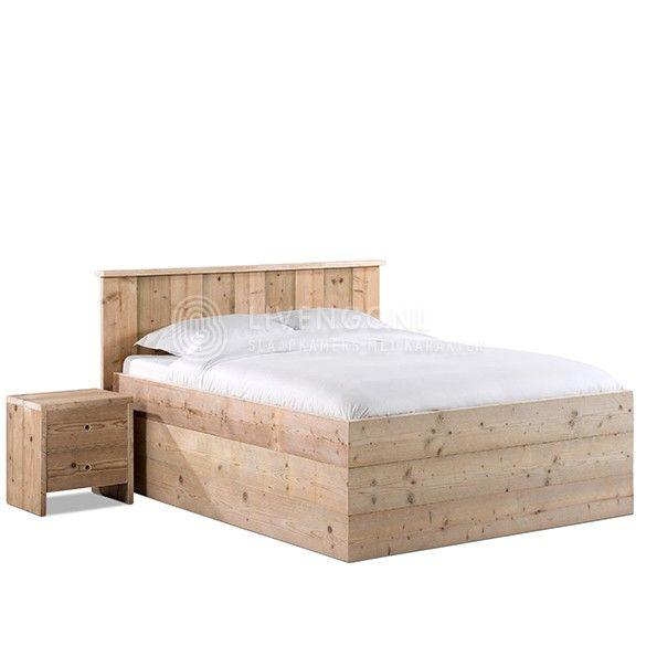 Bed van steigerhout - model 'Modern 3.0' | scaffold wooden bed 'Modern 3.0' | http://www.livengo.nl/steigerhouten-bed/steigerhouten-volwassen-persoonsbedden/steigerhouten-bed-modern30 | #steigerhout #bedden #hogebedrand #slaapkamers #livengo