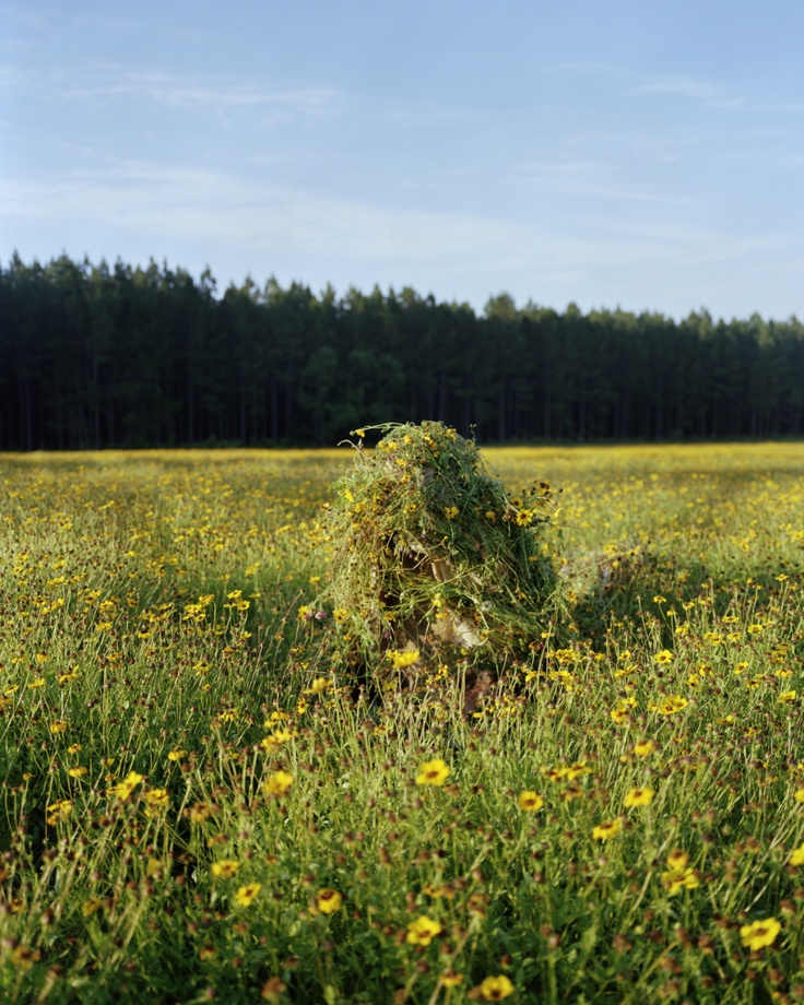 """Ghillie Suit 1 (Flowers), "" 2011 by Jeremy Chandler (Photograph)"