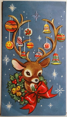 1950s Mid Century Modern reindeer. I love these prints from the 50's.