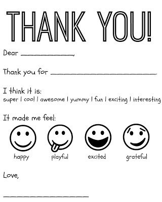 Free printable thank you card for kids.   They will have fun & love personalizing this card.  By using this free thank you printable, they will get practice with writing, manners, coloring & emotions.