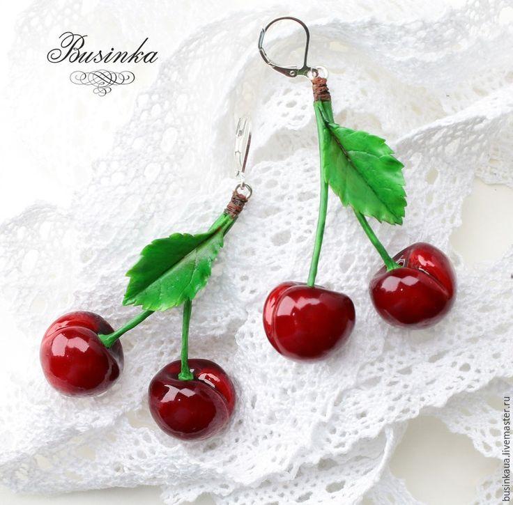 как сделать вишни, хендмейд вишни серьги, секреты лепки фарфор