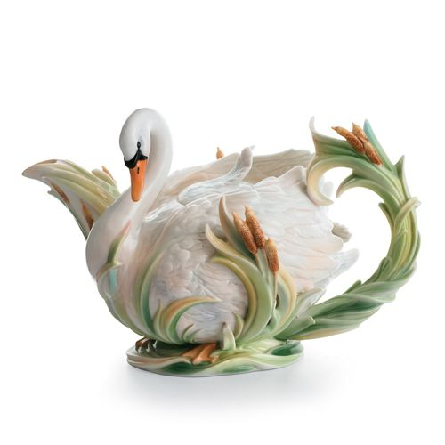 """""""The Swan Lake"""" Porcelain Teapot by Franz-See Coupon for Low Price"""