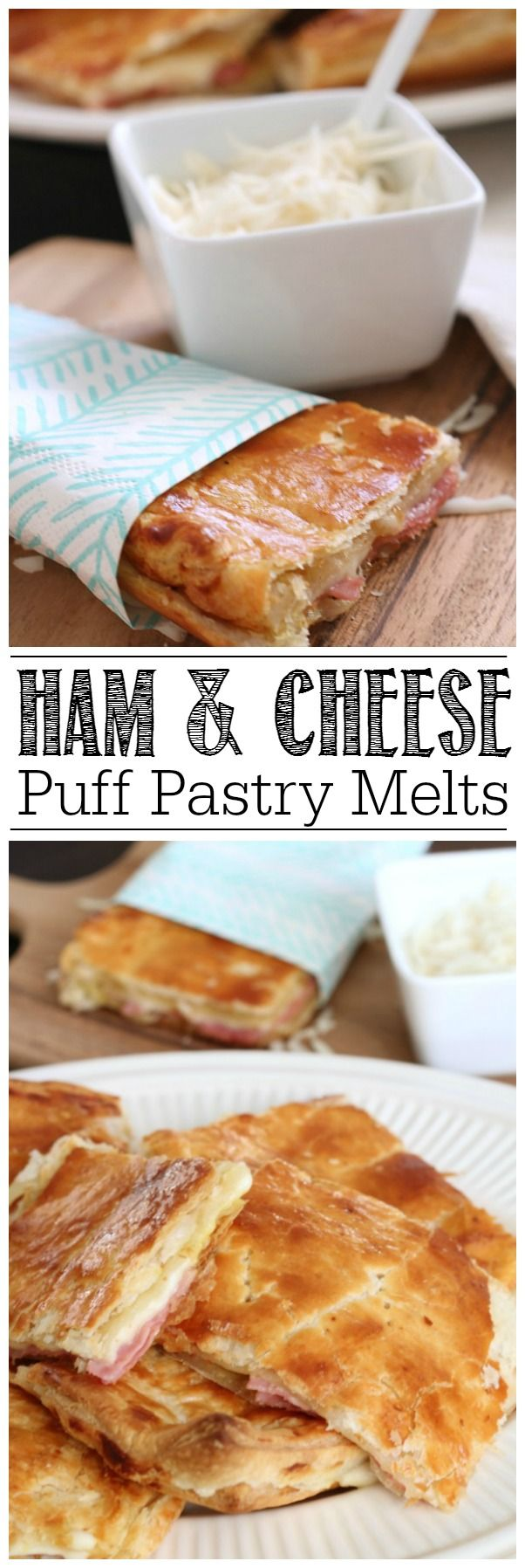 Take your grilled cheese up a notch with this ham and cheese melt recipe. SO good and can be customized with any filling that you would like!