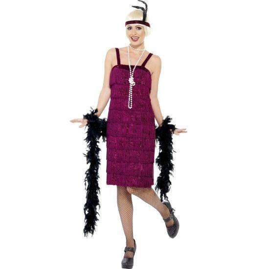 Bordeaux rode jaren 20 flapper dress. Twenties jurkje voor dames met bijpassende hoofdband.