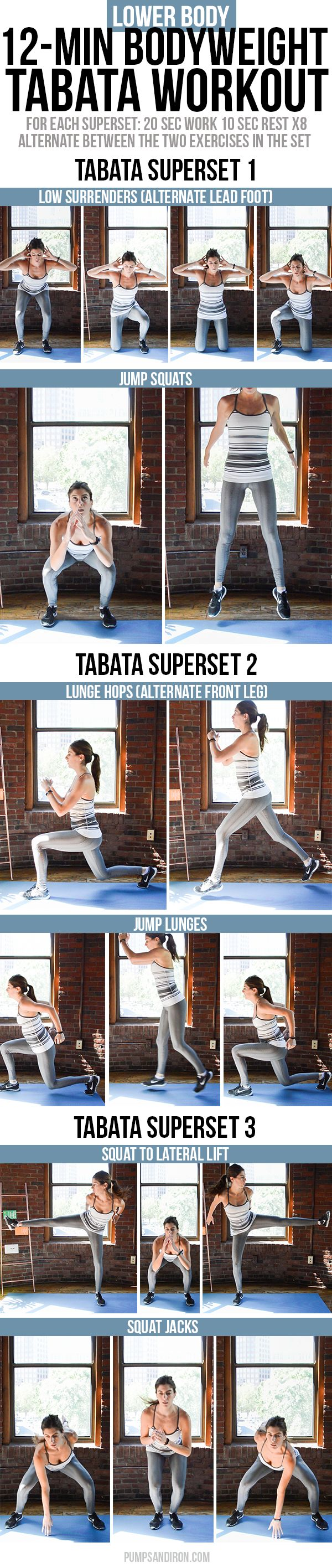 12-Minute Bodyweight Tabata Workout for Legs & Butt -- this workout is broken up into three 4-minute tabata supersets