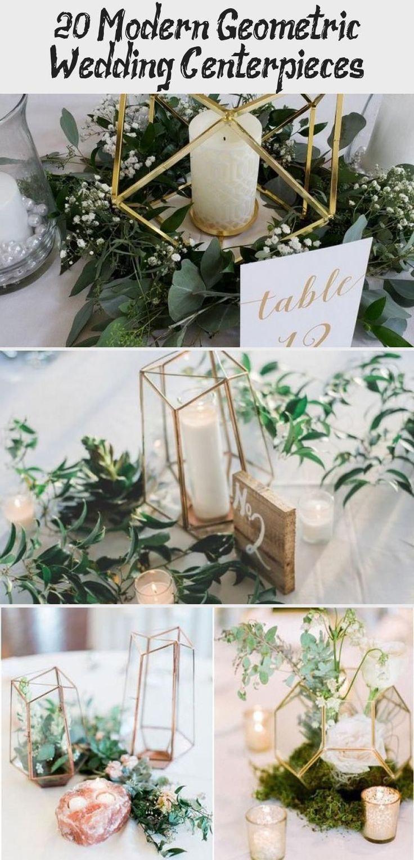 Modern gold and geometric wedding with greenery weddings