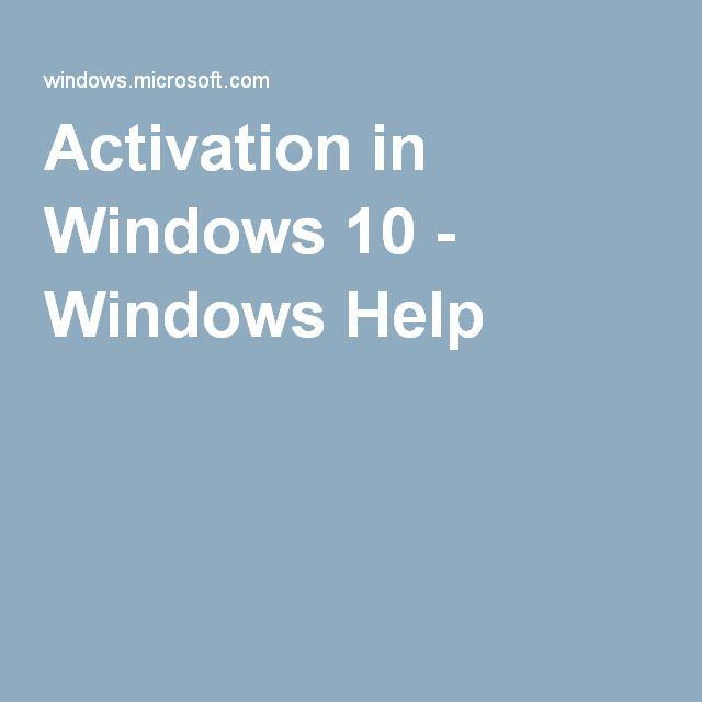 Activation in Windows 10 - Windows Help