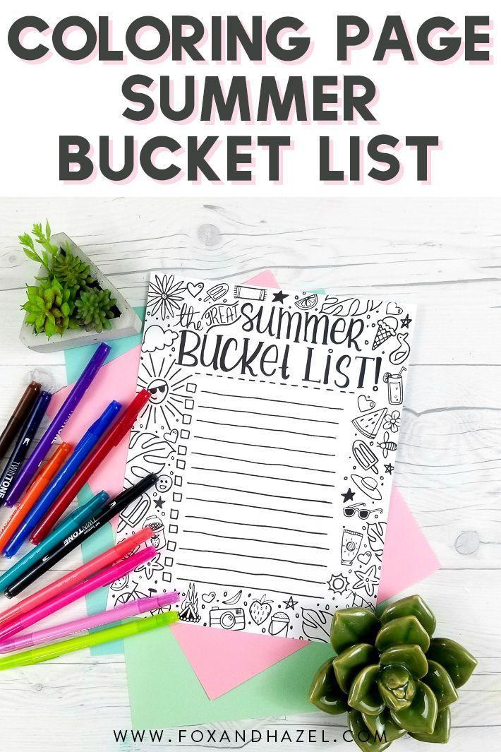 Summer Bucket List Free Printable Coloring Page Summer Bucket List Printable Free Printable Coloring Pages Summer Coloring Pages