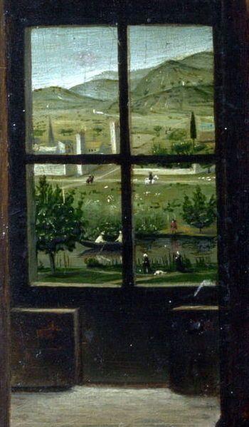 Antonello de Messine - St Jérôme dans son étude, detail de la fenêtre inférieure de gauche, 1474-75