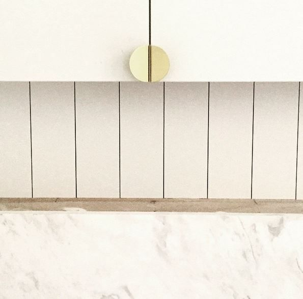 ~ HAMPTON PENTHOUSE ~ bathroom in progress detail, where #brass and #elba are the perfect match!