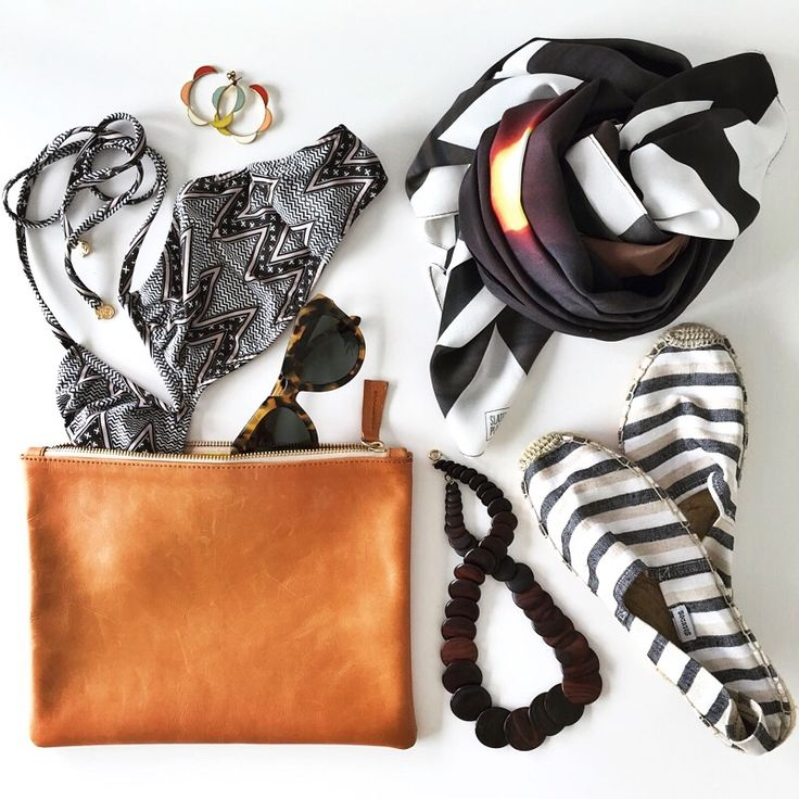 The Bali edit.  Clutch: http://slaterplace.com/products/camel-sunsets-leather-clutch  Scarf: http://slaterplace.com/products/hot-fiji-large-scarf  #slaterplace #flatlay #scarves #clutches #leather #beach