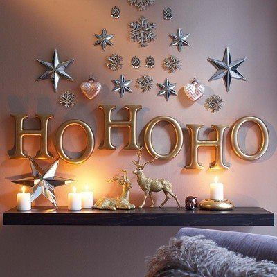 holiday decor - I must do for over the mantal, use Hobby Lobby craft letters and silver/metal color spray paint!