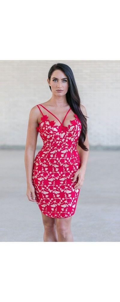 Lily Boutique Sound the Siren Crochet Red Mini Dress, $48 Red Lace Mini Dress…