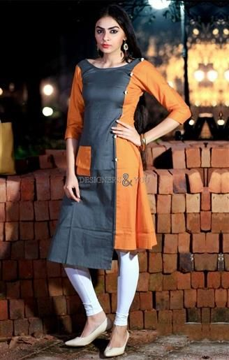 996b7705280  Buy Awesome Grey-Orange  Printed  HighLow  Style  Simple  Rayon  Kurti   Online. This  Frock Style Tunic With  Fancy Button Has 3 4Th Sleeves   Boat  Neck.