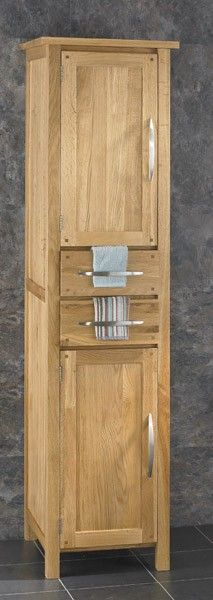 180cm Tall by 45cm Wide Ohio Solid Oak Two Drawer Two Door Freestanding Cabinet www.clickbasin.co.uk