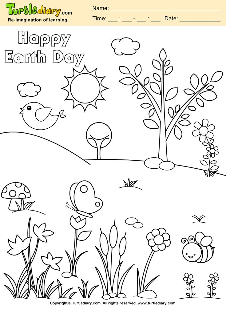 Happy Earth Day Pla Earth Coloring