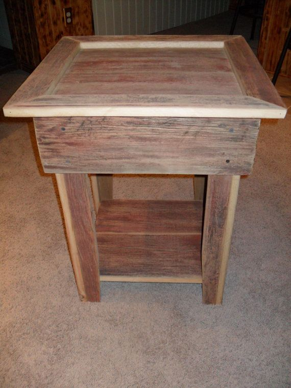 rustic end table with shelf by on etsy love the barnwood