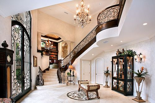 absolutely love grand foyers: The Doors, Front Doors Entrance, Dreams Home, Stairs, Interiors Design, Dreams House, Stairca, Homes, Wrought Irons