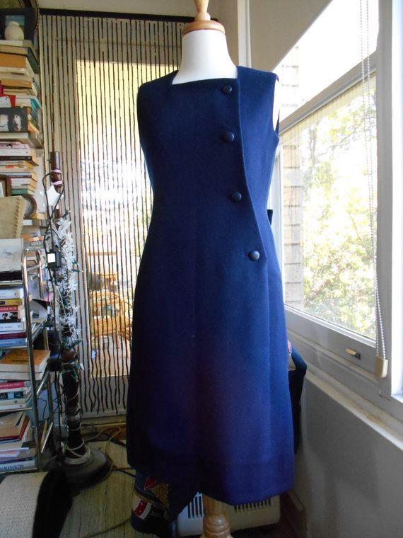 Vintage 60s Givency Navy Blue Winter by NinasVintageCloset on Etsy