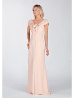 A-Line V-Neck Floor-Length Chiffon Mother of the Bride Dress With Hand-Made…
