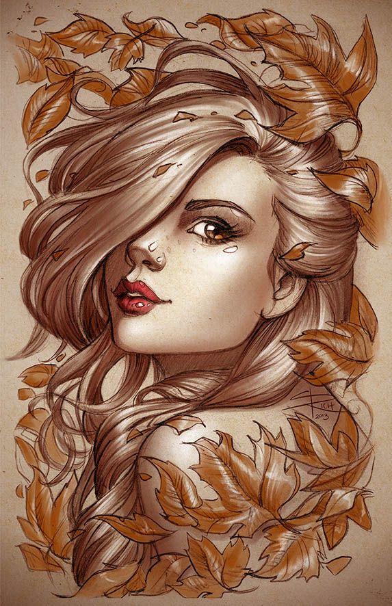Girl in Leaves by Sabinerich.deviantart.com on @deviantART