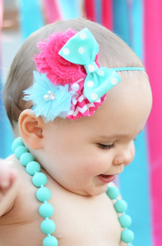 Baby Girl Headbands... Baby Headband...Hot Pink & Turquoise Chevron Bow Flower Headband... Baby Bow Headband... Newborn Headband