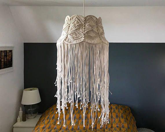suspensi n pantalla bohemio en macrame macrame lampshades pinterest lamp shades and macram. Black Bedroom Furniture Sets. Home Design Ideas