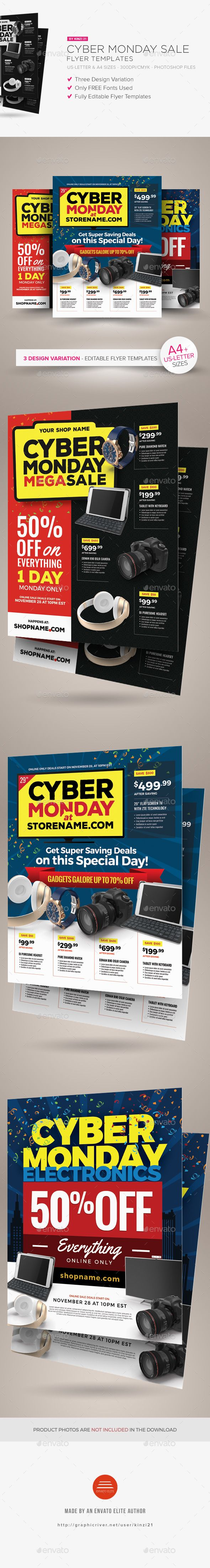 Cyber Monday Sale Flyer Templates  — PSD Template #deal #cyber monday • Download ➝ https://graphicriver.net/item/cyber-monday-sale-flyer-templates/18375876?ref=pxcr