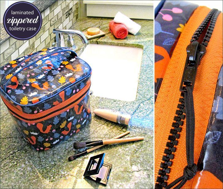 Laminated Make-Up/Toiletries Case with Wraparound Zipper | Sew4Home
