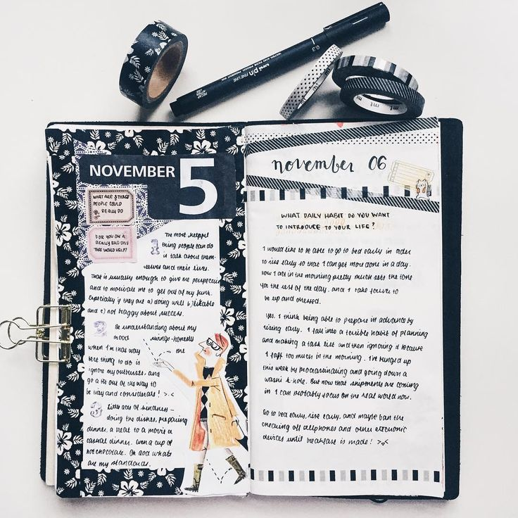 """Nov 5 & Nov 6 entries for #journalingsage prompts. I've been buying a lot of colorful washi tape, but prefer simple b&w layouts. Why is this?!   #journal…"""