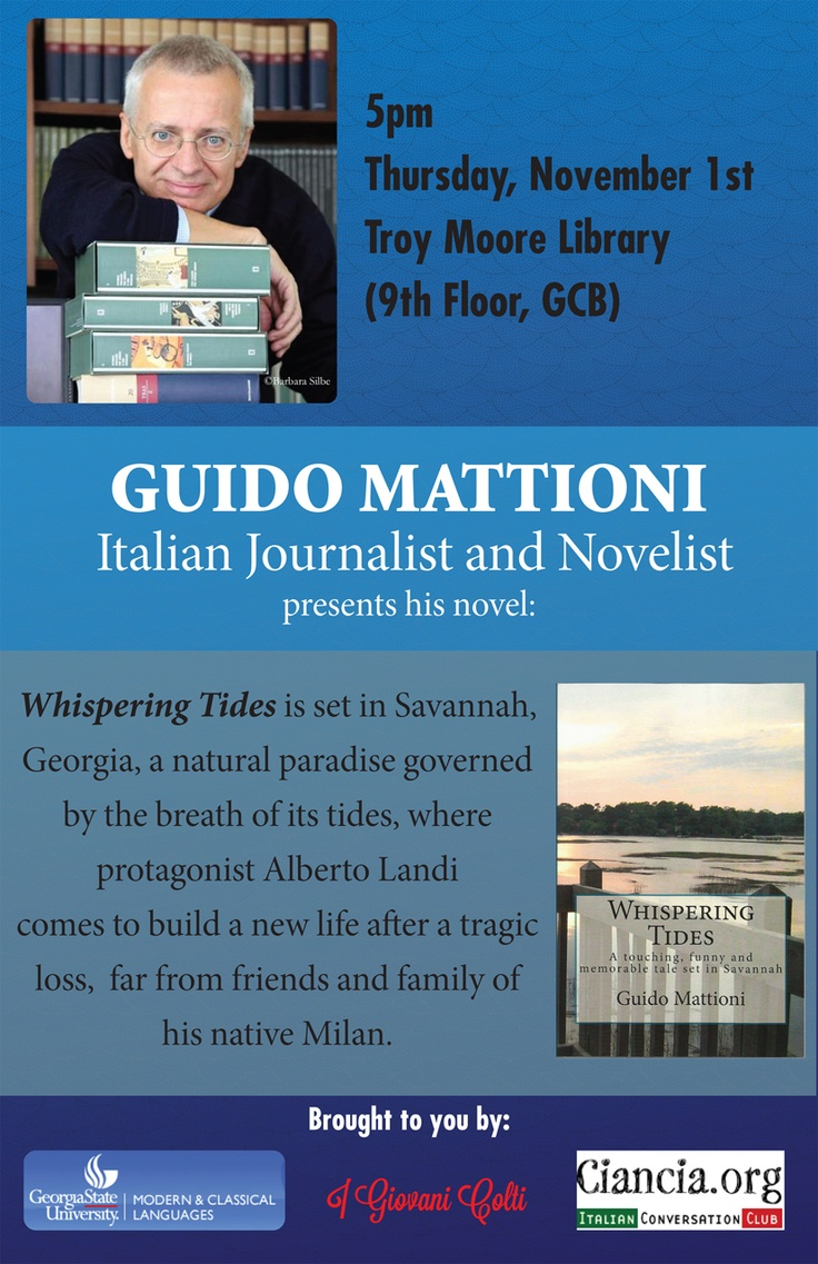 In Atlanta GA, November 1st at 5 PM? You will be welcome. I'll present my novel Whispering Tides at Georgia State University Campus (Troy Moore Library)